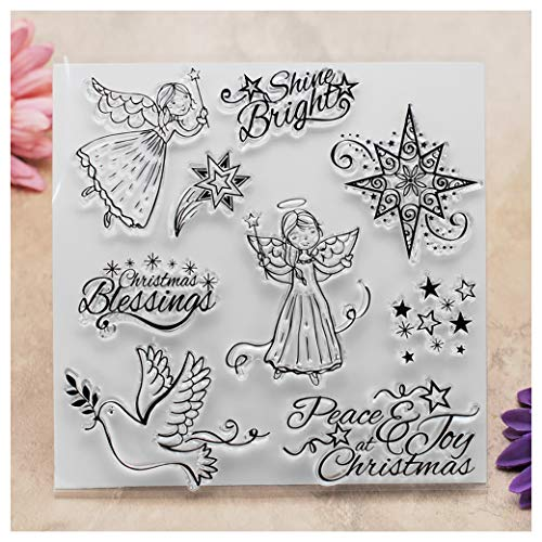 s Peace Joy Angel Stars Clear Stamps for Card Making Decoration and DIY Scrapbooking ()