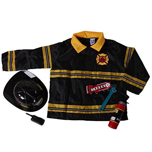 Boys Fireman Dress Up Jacket, Helmet & Toy Accessory Costume Set, Size 8/10