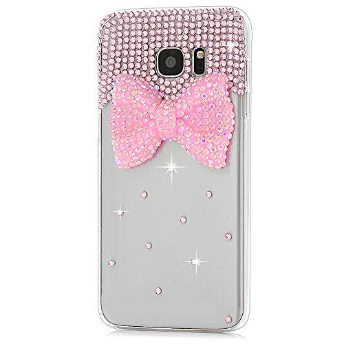 S7 Edge Case,Samsung Galaxy S7 Edge Case - Maviss Diary 3D Handmade Lovely Cute Pink Bow with Bling Crystal Shiny Diamonds Gems Clear Cover Hard PC Case