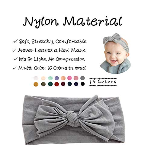 16PCS Baby Nylon Headbands Hairbands Hair Bow Elastics for Baby Girls Newborn Infant Toddlers Kids (Pb-16)