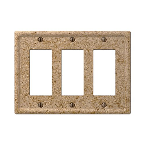 - TRIPLE 3 ROCKER Tumbled Travertine Faux Textured Stone Noce Resin Switch Wall Plate Outlet Cover