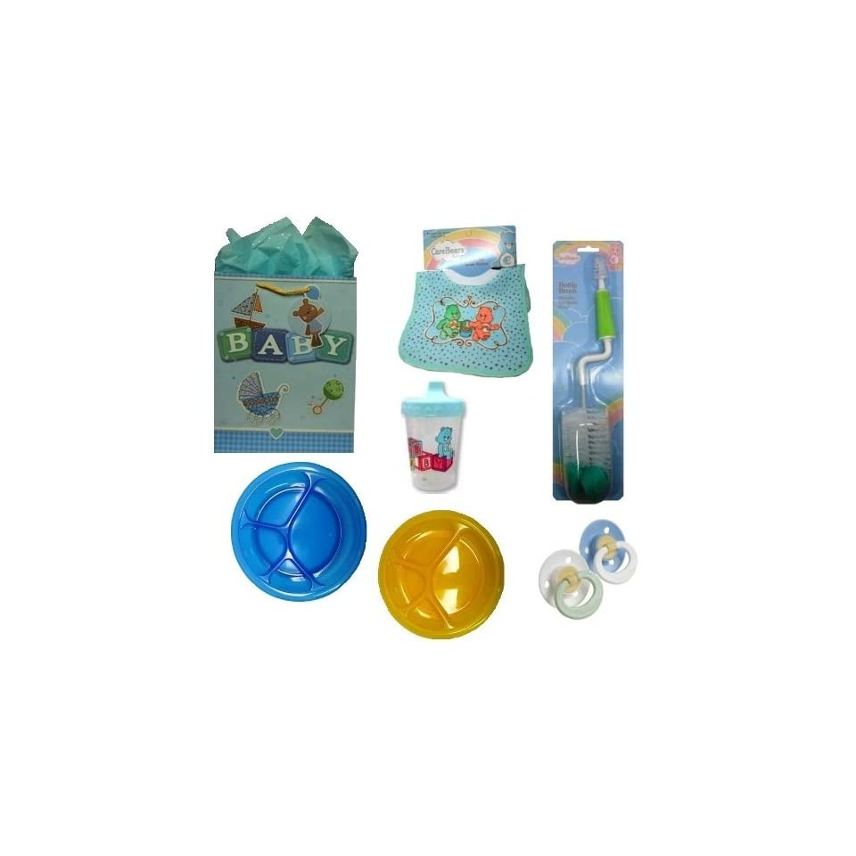 Gift Set Baby Boy Feeding Gerber First Essentials Soft Center Silicone Pacifier, Care Bear BPA Free Sippy Cup & Pullover Bib & More