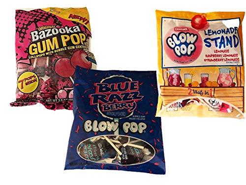 Bubble Gum Assorted Candy Pops Bundle - Bazooka Blow Pop 1 Pack Original 3.5 Ounce 1 Pack Blue Razz Berry 3.25 Ounce 1 Pack Lemonade Stand 3.25 - Stand Bazooka