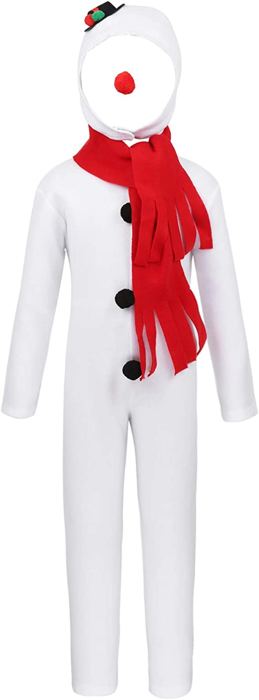 ranrann Disfraz de Muñeco de Nieve para Niñas Niños Jumpsuit Blanco Manga Larga Gorro Nariz Rojo Bufanda Disfraz Navidad Halloween Fiesta Cosplay
