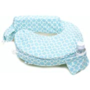My Brest Friend Nursing Pillow Deluxe Slipcover – Machine Washable Breastfeeding Cushion Cover - pillow not included, Flower Key (Sky Blue, White)