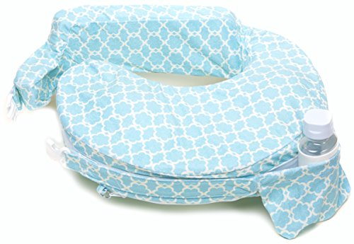 My Best Friend Nursing Pillow Deluxe Slipcover, Flower Key, Sky Blue, White