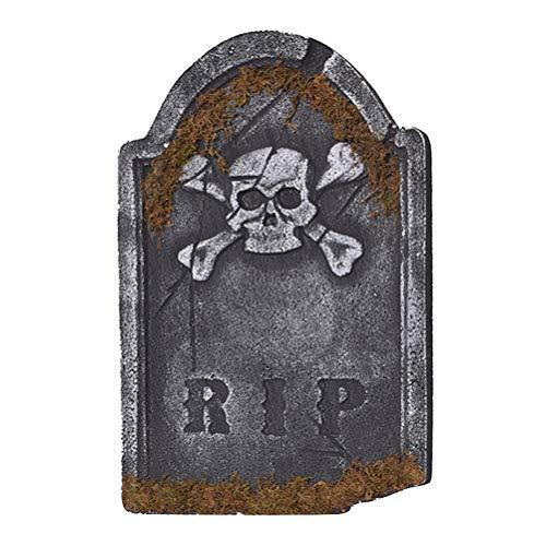 Amosfun Halloween Skull Tombstone Foam Haunted House Stone Prop Horror Chamber Scene Layout Party Decor]()