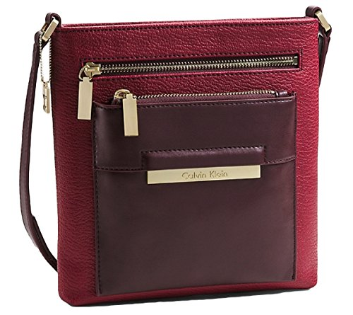 Calvin Klein Valerie Triple Zip Flat Pack Crossbody Bag Handbag (garnet) 36095294