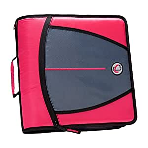 Case-it Mighty Zip Tab 3-Inch Zipper Binder, Neon Pink (D-146-NEOPNK)