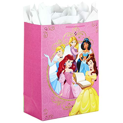 Hallmark Oversized Disney Princess Gift Bag with Tissue Paper for Birthdays, Kids Parties or Any Occasion (Ariel, Belle, Rapunzel, Cinderella, Jasmine and More) - Disney Brave Party Favor