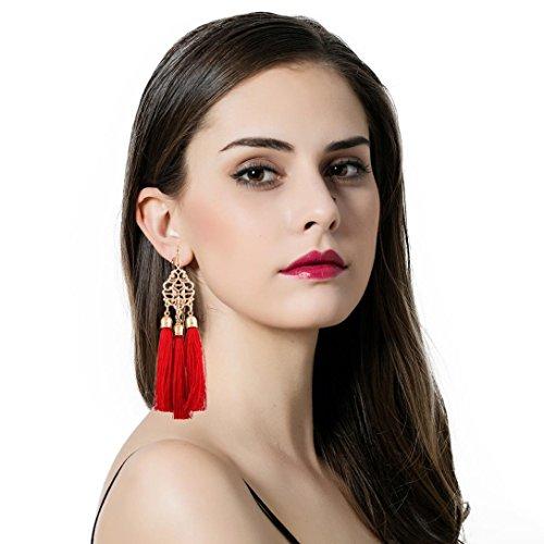 DDLBiz Women Fashion Bohemian Earrings Long Tassel Fringe Dangle Earrings Jewelry (Red)