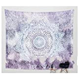 YGUII Hippie Mandala Blue Tapestry Multi Purpose Cotton Decorative Wall Hanging 150130cm(59''51'')