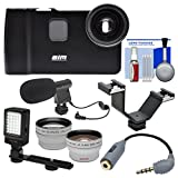 ALM mCAMLITE Stabilizer Mount with Video Lens for iPhone 7 & 8 with Wide Angle & Telephoto Lenses + Video Light + Microphone + Bracket + Kit