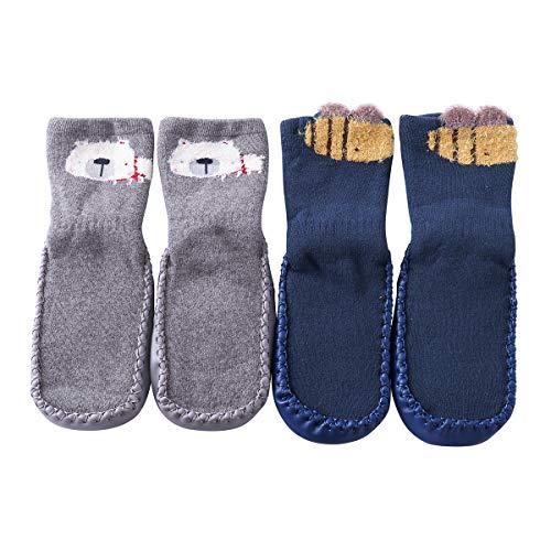 Skola Cartoon Cute Thick Winter Warm Baby Toddler Anti Slip Skid Grip Floor Socks Slipper Cotton Prewalker (18-30 Months,Dark Gray/Navy)