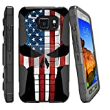 MINITURTLE Case Compatible w/ Case for Samsung Galaxy S7 ACTIVE G891A, [NOT FOR REG S7] MiniTurtle S7 Active SMG891 High Impact Resistant Hybrid Holster & Stand Case American Flag Skull