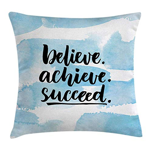 CHA-LRS.BB Inspirational Quotes Throw Pillow Cushion Cover by, Believe Achieve Succeed Positive Challenging Saying Brush Lettering, Decorative Square Accent Pillow Case, 18 X 18 Inches, Light -