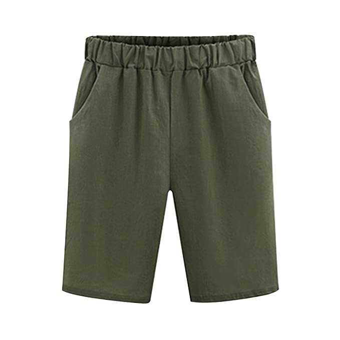 973e740236 Image Unavailable. Image not available for. Color: Gooket Women's Casual  Elastic Waist Knee-Length Bermuda Shorts Army Green Tag ...