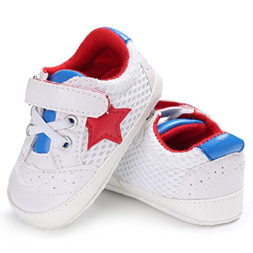 WeiYun Stars Baby Walkers Baby Shoes Sneakers Princess Soft Sole Shoes Toddler Casual Shoes (6Months, Red)
