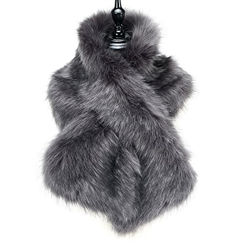 Caracilia Men Women Winter Straight Scarf Faux Fake Fur Shawl Shrug Gray 120CA97