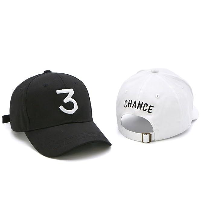 8a958c6b9b0e7 Amazon.com   IVYRISE 2 Pack Fashion Embroider Baseball Chance Caps Hats Cool  Baseball Rapper Caps with Number 3