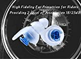 High Fidelity Earplugs for Bikers with volume control 18dB/23dB - Large
