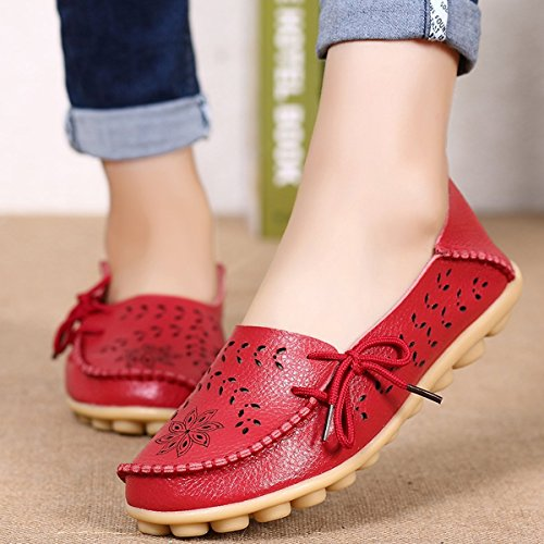 Shoes XMeden with Lady Leather Womens Breathable Casual Drivers Flat Pebbled Red Hole Loafer w8awqrOzx