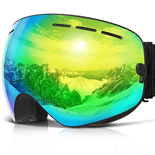 COPOZZ Ski Goggles, G1 Mens Womens Ski Snowboard Snowboarding Goggles - Over Glasses Double Lens Anti Fog Frameless,Cool REVO Mirror Black Gold for Men Women Youth Snowmobile Skiing