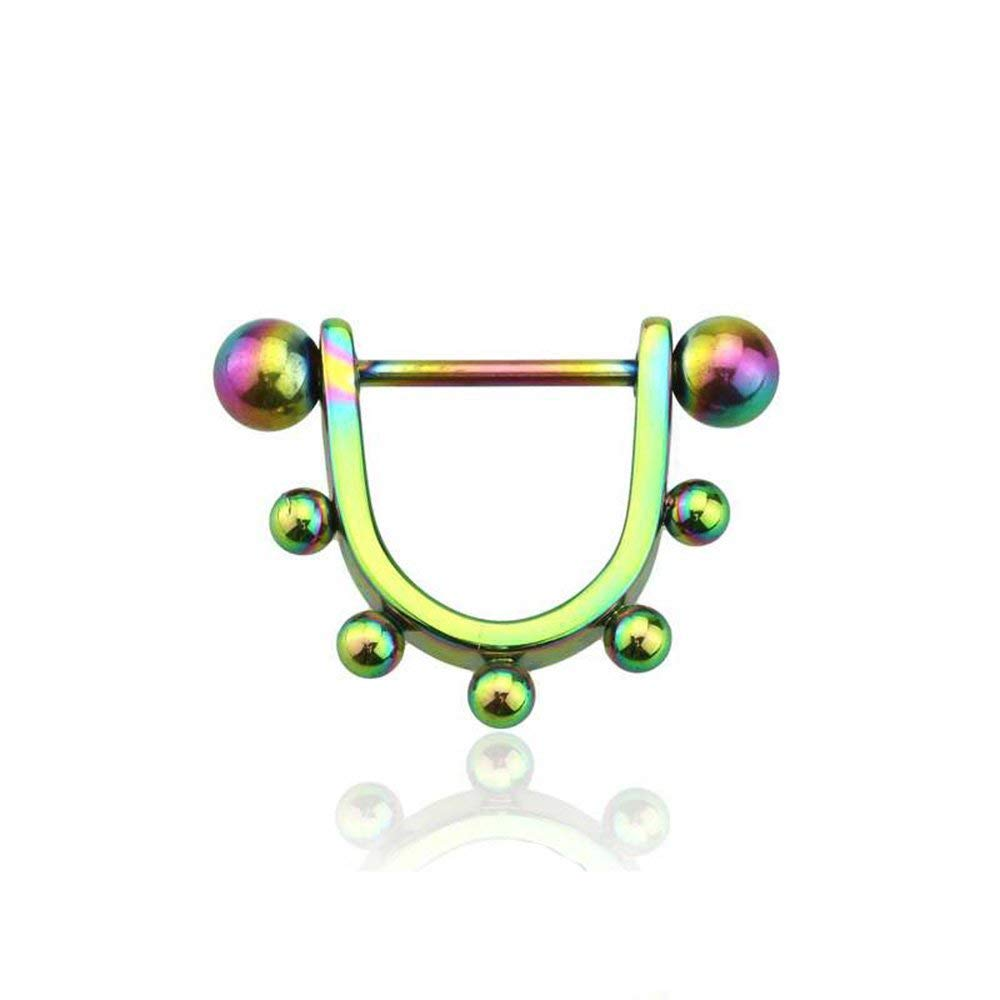 Covet Jewelry Anodized Rainbow Beads U Shaped 316L Surgical Steel Nipple Shield