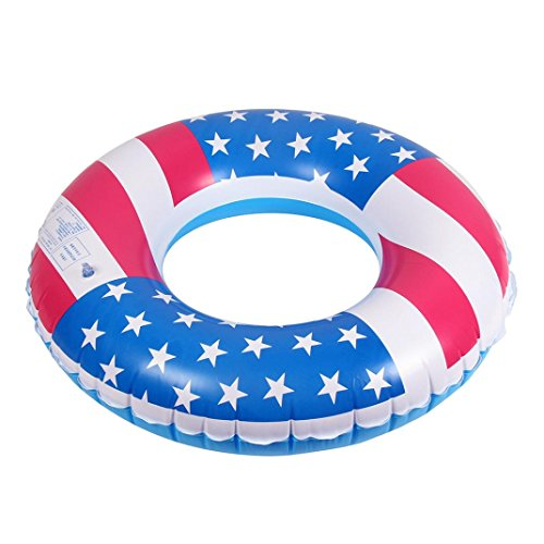 """Iusun 30"""" USA Flag Inflatable Tube Ring Swimming Arm Rings Float Raft Ring Water Pool (Multicolor)"""
