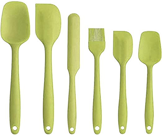 6 Piece Spatula Set,Heat-Resistant Kitchen Utensil Set Cooking Tools,Black Silicone Spatula Set