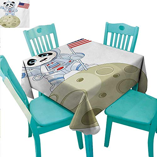 Panda Easy Care Tablecloth Panda Astronaut on The Moon Holding USA Flag Moonwalk Imagination Fantasy Picture Runners,Gatsby Wedding,Glam Wedding Decor,Vintage Weddings 60
