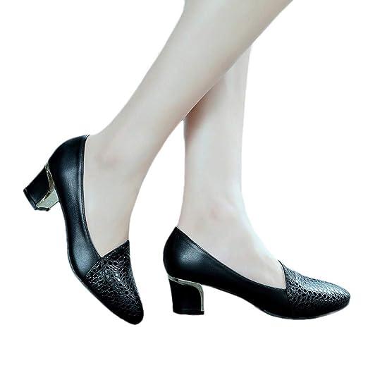 10870bcf0e4ab Women Fashion Leisure Round Toe Pumps Faux Leather Low Block Heels Dress  Shoes by Lowprofile