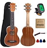 Kulana Deluxe Soprano Ukulele, Mahogany Wood with Binding and Aquila Strings + Gig Bag