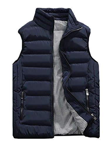 Vcansion Men's Outdoor Casual Stand Collar Padded Vest Lightweight Down Cotton Jacket Coat Vest Blue S ()