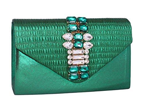 Bolso Brillante para Moda Fiesta de con Diamonte Verde Adoptfade Mujer Dorado aw7Rxqdq6