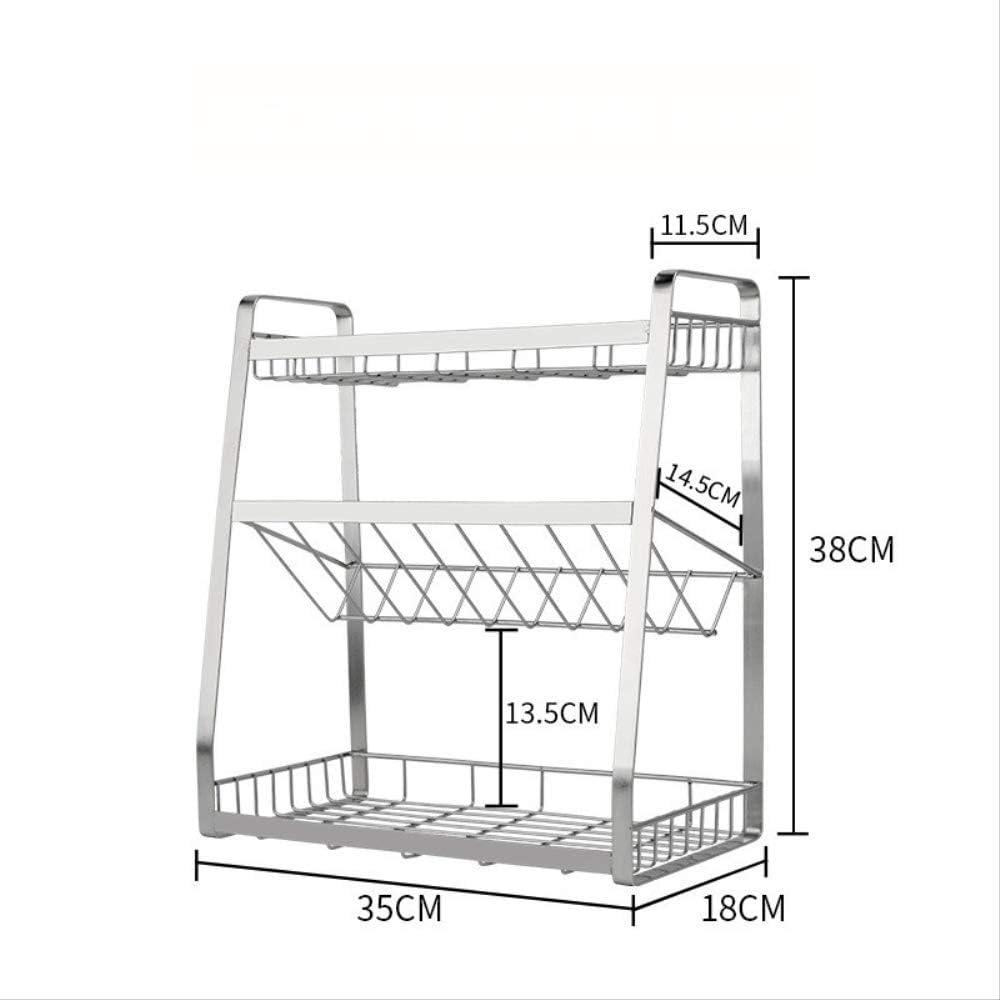estanter/ía para condimentos WHBLSKY 304 Estante de acero inoxidable para condimentos de cocina suministros estanter/ía tres niveles de almacenamiento