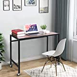 Shan-s Mobile Computer Desk,Portable Desk Wheels Rolling Simple Study Writing Table, Industrial Style Workstation for Home Office 39.4in×28.7in×17.7inch