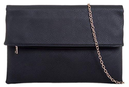 Girly Fold Over Black Envelope Clutch Handbags Bag rrPgTqAw