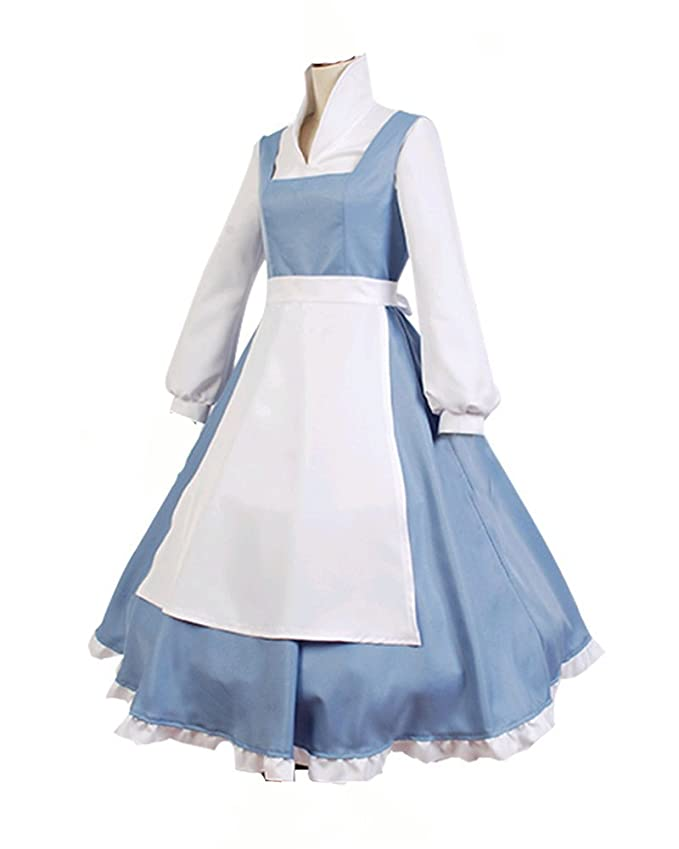 amazoncom cossky beauty and the beast cosplay costume princess belle outfit maid dress custom made clothing