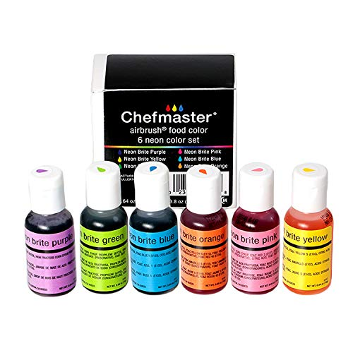 Chefmaster Airbrush Color Set (6 Pack), Neon Airbrush Food Coloring Set, Halal & Vegan Cake Decorating Kit, 6 Neon Easter Egg Colors, Airbrush Food Colors for Easter Eggs, Holiday Cookies & More
