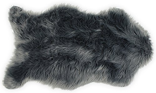 Nouvelle Legende Faux Fur Sheepskin Premium Rug Single (23 in. X 40 in.) Gray