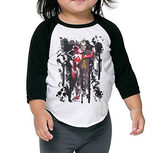 Autumn Kids Toddler Joker And Harley Quinn 2 Crew Neck 3/4 Sleeves Raglan T Shirts Black US Size 3 Toddler
