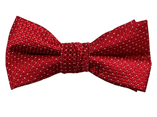 Spring Notion Boys' Pre-tied Woven Bow Tie Large Red Patterned