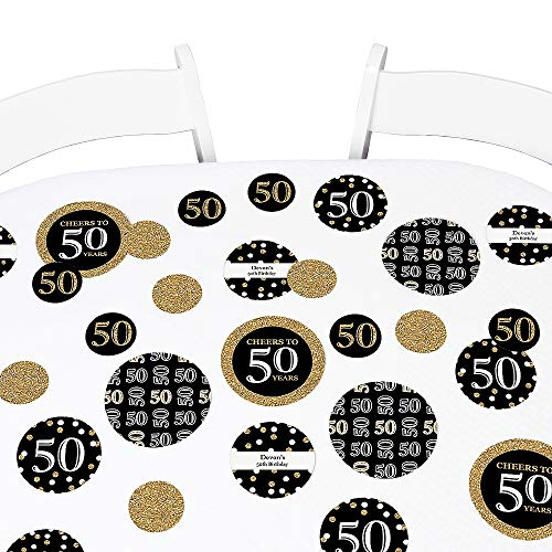 Big Dot of Happiness Adult 50th Birthday - Gold - Birthday Party Giant Circle Confetti - Party Decorations - Large Confetti 27 Count ()