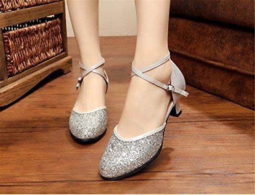 Chaussures Argent danse féminine danse danse chaussures chaussures avec de danse 2017 danse grande taille de TMKOO de de de Chaussures de chaussures latin carrée en 5BwqfSgn
