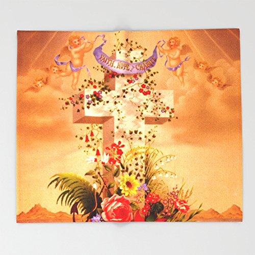 Society6 Faith Hope Charity - Christian Cross Throw Blankets 88'' x 104'' Blanket by Society6