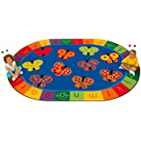 "Carpets for Kids 3506 Literacy 123 Abc Butterfly Fun Kids Rug Size: Oval x x, 6'9'' x 9'5"", Blue"