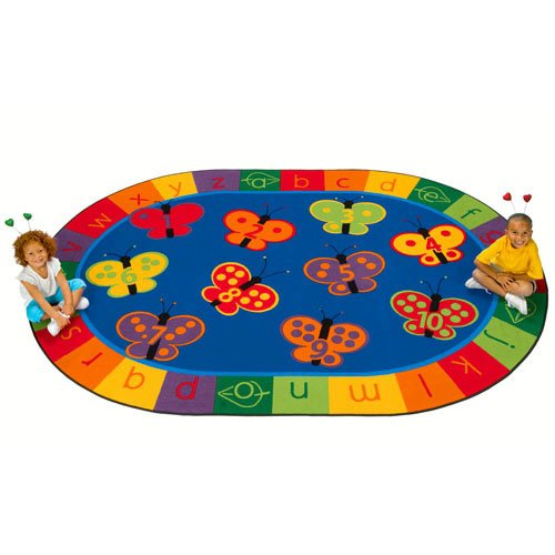 Butterfly Garden Rug (Carpets for Kids 3507 Literacy 123 Abc Butterfly Fun Kids Rug Size: Oval x x, 7'8 x 10'10, Blue)