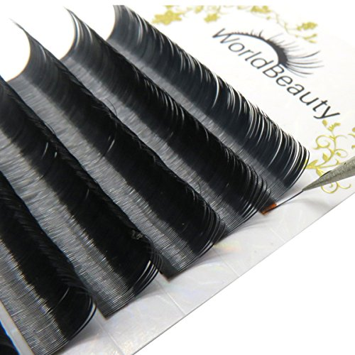 Worldbeauty Primer Black Ellipse Eyelash Extensions 0.20mm Thickness D Curl 8mm to 14mm Mixed Trays for Professional Salon Use