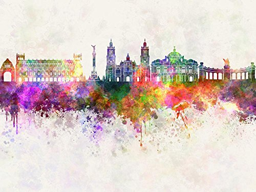 Mexico City Watercolor Wall Mural by Wallmonkeys Peel and Stick Graphic (30 in W x 23 in H) WM361627